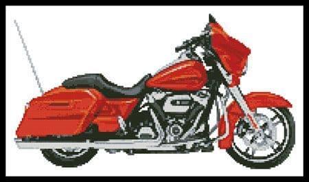 2006 Harley Davidson Street Glide (Orange) by Artecy printed cross stitch chart